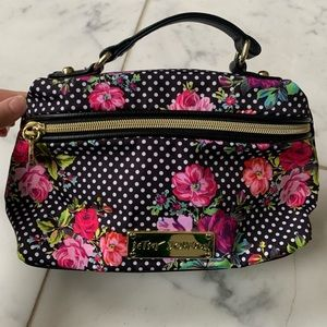 NWOT Betsey Johnson Floral Polkadots Cosmetic Bag